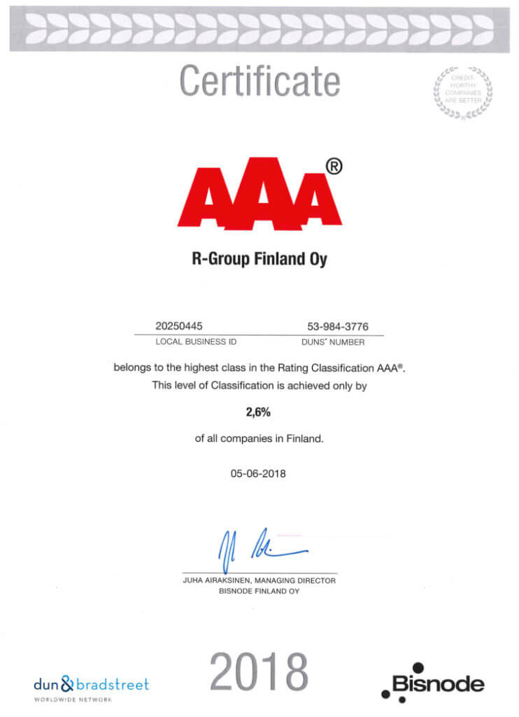 R-Group continues with AAA rating from Bisnode